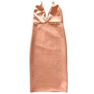 Pink deep V cut open back midi Bodycon dress